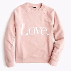 J.Crew Love sweatshirt pale rose pink Valentines